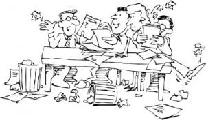 cartoon office chaos
